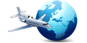 Logo of the page: Plane around the world